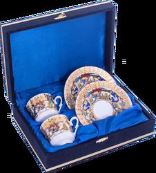 Güral Porselen - Kahve Fincanı Güral Porselen <br> 4 Parça 2 Kişilik El Dekoru Tarzı <br> Altın Yaldızlı Kahve Fincan Takımı <br> Kadife Kutulu ORN 722