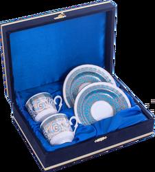 Güral Porselen - Kahve Fincanı Güral Porselen <br> 4 Parça 2 Kişilik El Dekoru Tarzı <br> Altın Yaldızlı Kahve Fincan Takımı <br> Kadife Kutulu ORN 728