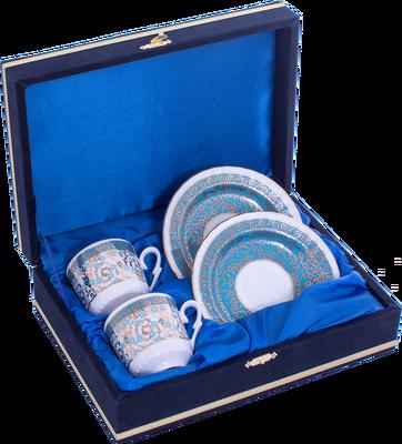 Kahve Fincanı Güral Porselen <br> 4 Parça 2 Kişilik El Dekoru Tarzı <br> Altın Yaldızlı Kahve Fincan Takımı <br> Kadife Kutulu ORN 728
