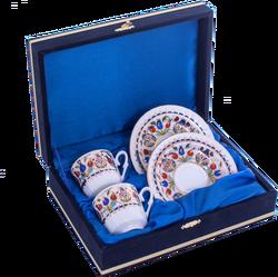Güral Porselen - Kahve Fincanı Güral Porselen <br> 4 Parça 2 Kişilik El Dekoru Tarzı <br> Altın Yaldızlı Kahve Fincan Takımı <br> Kadife Kutulu ORN 729