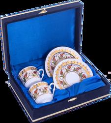 Güral Porselen - Kahve Fincanı Güral Porselen <br> 4 Parça 2 Kişilik El Dekoru Tarzı <br> Altın Yaldızlı Kahve Fincan Takımı <br> Kadife Kutulu ORN 730