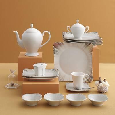Güral Porselen Kahvaltı Takımı <br> 36 Parça 6 Kişilik Spinoza Kare<br> GBSSPN36KH100725