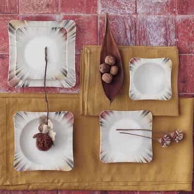 Yemek Seti Güral Porselen <br> 24 Parça 6 Kişilik Digibone Spinoza <br> Kare Yemek Takımı <br> GBSSPN24Y4100725