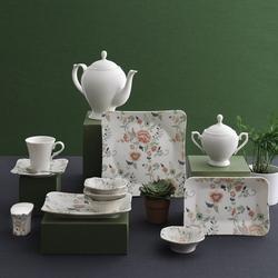 Güral Porselen - Güral Porselen Kahvaltı Takımı <br> 36 Parça 6 Kişilik Spinoza Kare<br> GBSSPN36KH101142