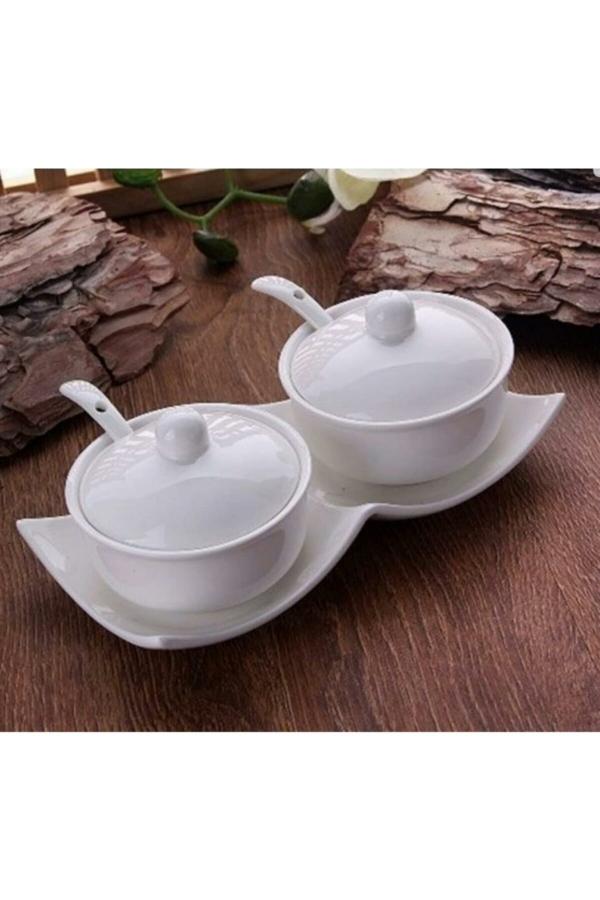 İkili Porselen Baharatlık-Reçellik