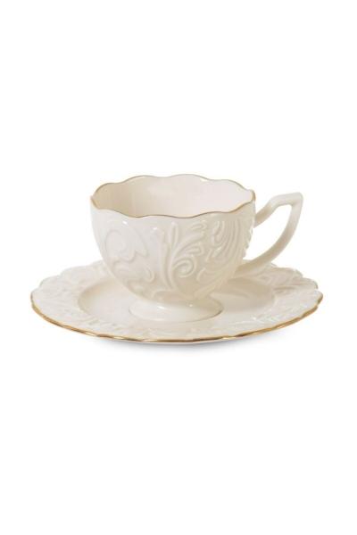 İpek - İpek porselen 6 kişilik beyaz kahve fincan takımı