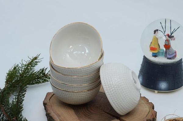 İpek Porselen - İpek Porselen Yaldızlı Kase Krem 6 lı