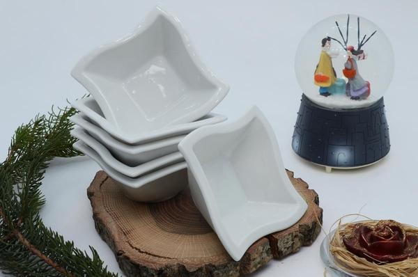 İpek Porselen - Kahvaltılık Çerezlik Porselen Kare Tabak 6 lı