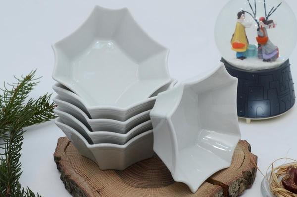 İpek Porselen - Kahvaltılık Çerezlik Porselen Beyaz Tabak 6lı