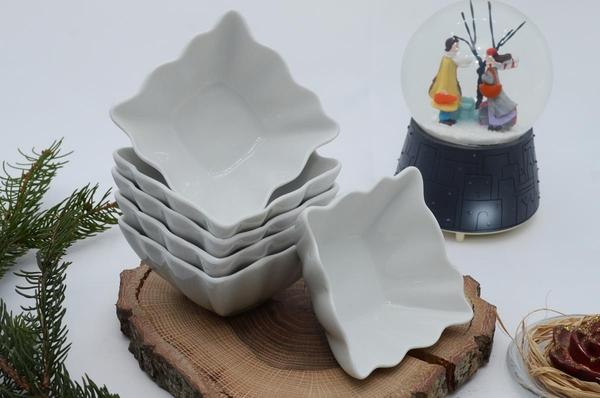 İpek Porselen - Kahvaltılık Çerezlik Porselen Kare Kase 6 lı