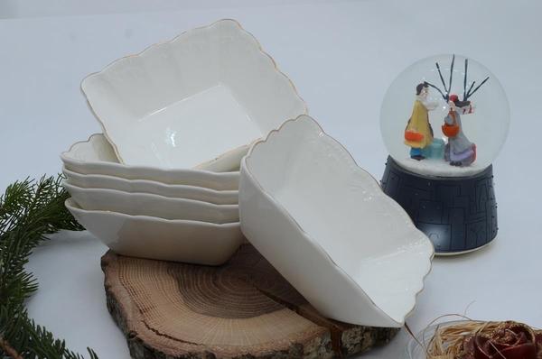 İpek Porselen - Kahvaltılık Çerezlik Kare Porselen 6 lı