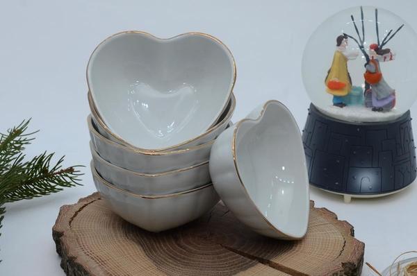 İpek Porselen - Porselen kalp kase 6 lı