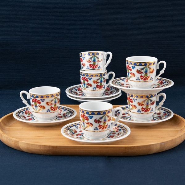 Güral Porselen - Kahve Fincan Takımı Yaldızlı <SF12CKT084556>