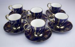 Kosova - Kosova 6 Kişilik Lacivert Kahve Sunum Fincan Seti Karton Kutulu