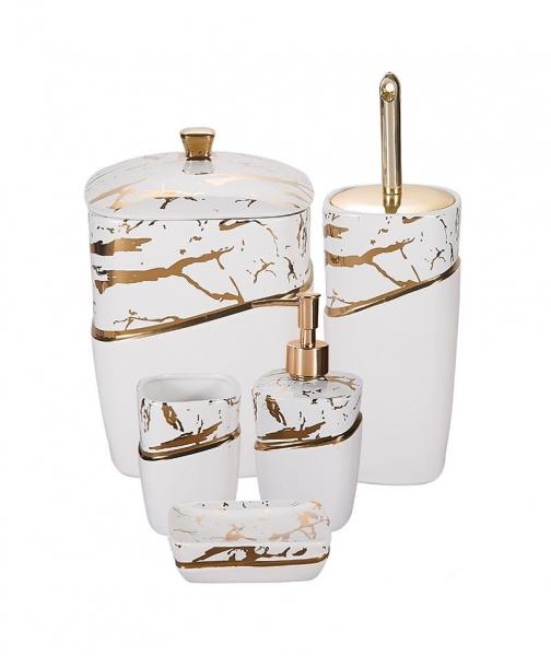 Acar Home - Loren 5'Li Stoneware Mermer Desen Banyo Seti