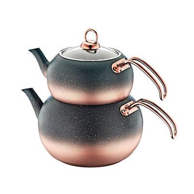 OMS Granit <br> Küre Çaydanlık Takımı <br> Bakır Medium