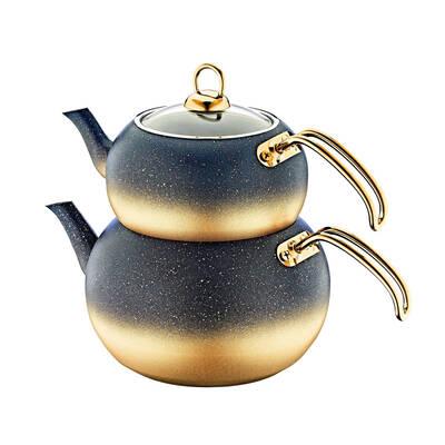 OMS Granit <br> Küre Çaydanlık Takımı <br> Gold Medium