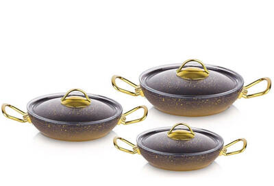 OMS Granit Sahan Seti <br> 6 Parça Cam Kapaklı Gold