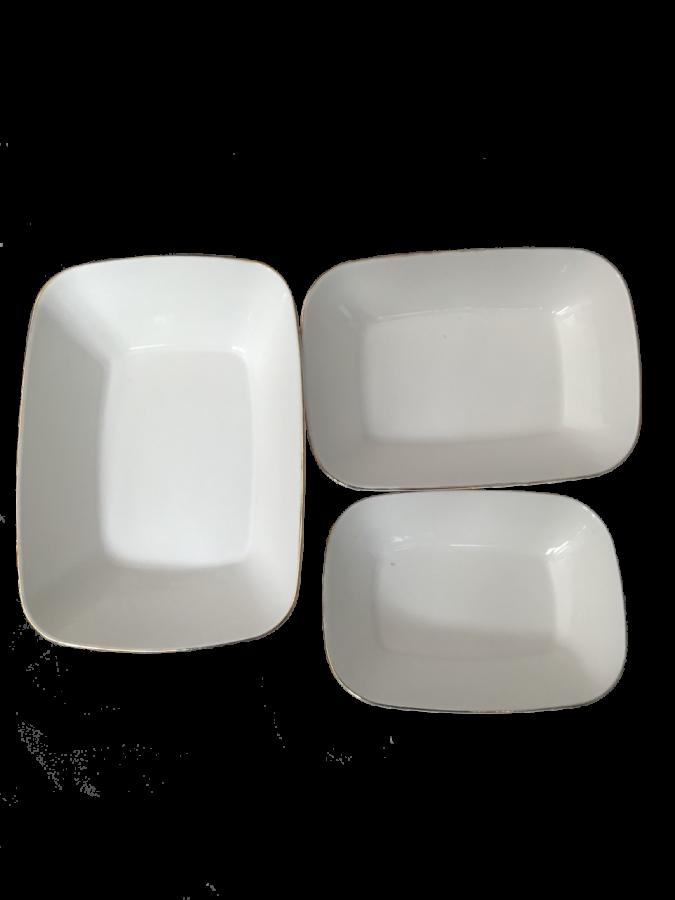 Porselen 3'lü Kayık-Meze Tabak