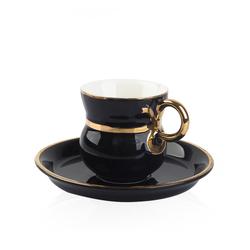 Acar Home - Porselen 6 Lı Kahve Fincan Takımı Siyah <br>ZNH-009480
