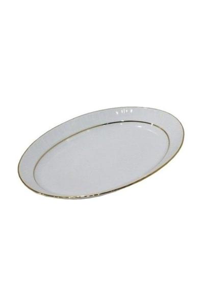 Güral Porselen - Porselen Kayık Tabak 25 cm Altın Yaldızlı