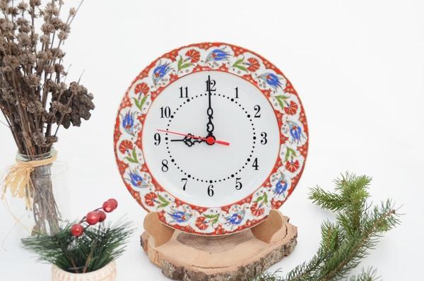 porselenshop - porselen duvar saati el dekorlu yaldızlı