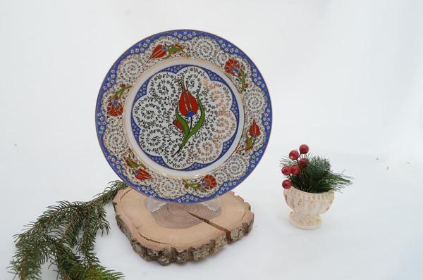 Ören Çini - porselen servis tabağı kırmızı lale