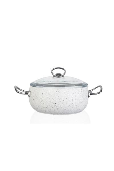 Acar Home - Riva Beyaz Derin Granit Tencere 26 cm
