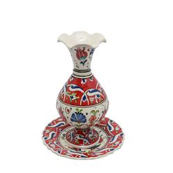 Ören Çini - Tabaklı Vazo Kırmızı Model 1