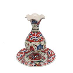 Ören Çini - Tabaklı Vazo Kırmızı Model 2