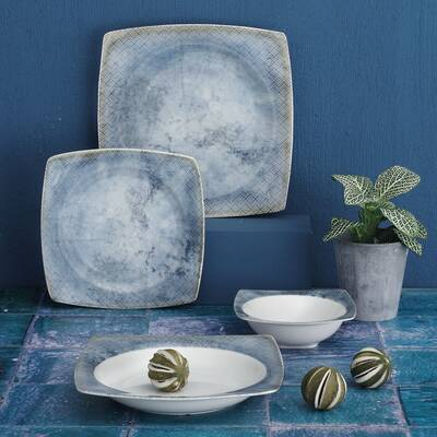 Yemek Seti Güral Porselen <br> 24 Parça 6 Kişilik Elegant<br> Kare Yemek Takımı <br> GBSCR24Y4100457